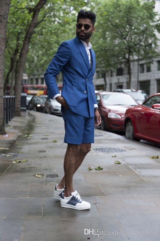 Özel Mavi Erkekler Suits ile 2018 Yaz Kısa Pantolon Plaj Sıska Erkekler Smokin 2 Parça Terno Iş Yaz Giymek (Jacker + Pantolon)