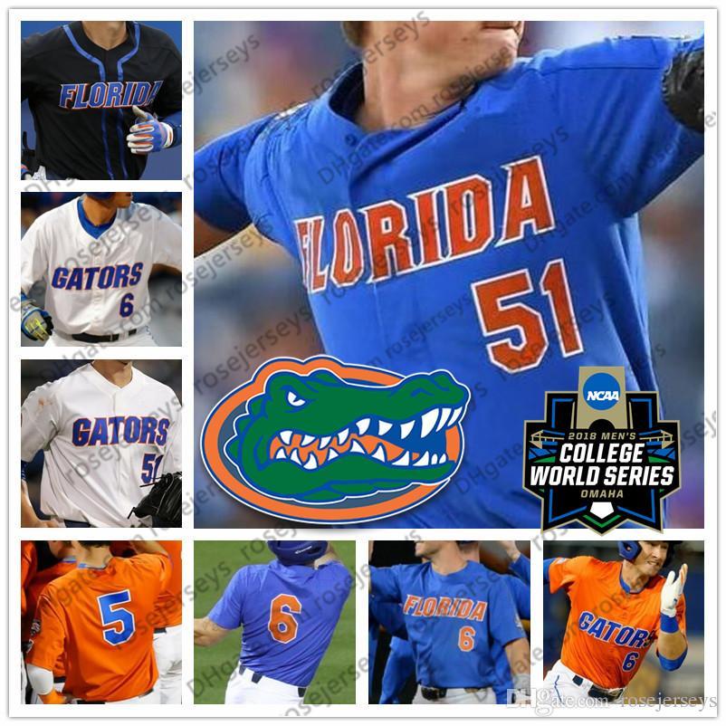 عرف فلوريدا غتورس البيسبول الأبيض البرتقالي الأزرق الأسود أي رقم اسم # 6 جوناثان الهند 51 برادي المغني 20 بيت ألونسو NCAA CWS الفانيلة