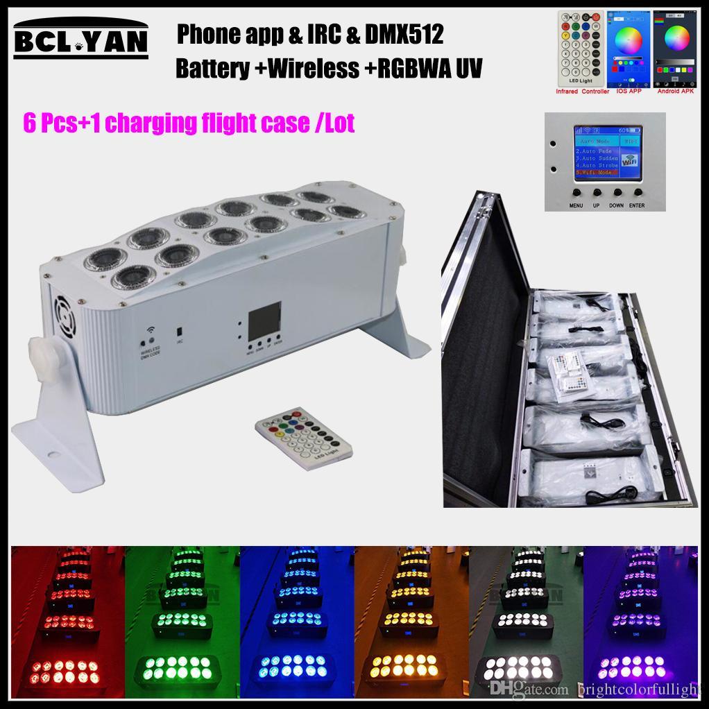6 in 1 flight case Super Brightness new 12*18w RGBWA UV battery Wireless dmx led stage light with wifi remote control