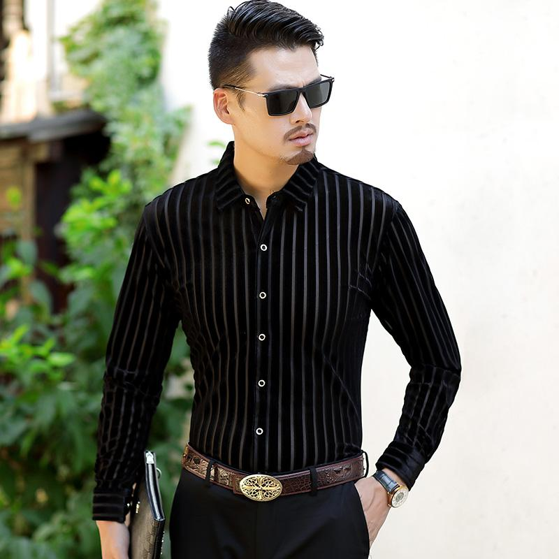 High Quality Stripe Shirts Mens Black Business Mens Shirts 2018 Winter Velvet Office Dress Silk Vestido Social Club