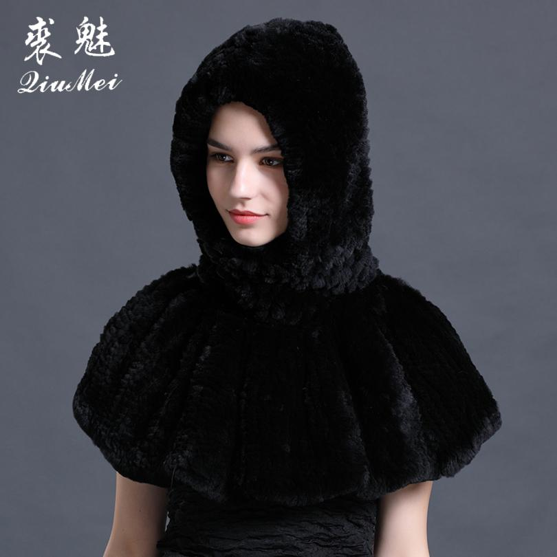 2018 Winter New Hats & Scarves Warm Real Rex Rabbit Fur Women Hats Hooded Ponchos Fashion Stole Solid Genuine Female Pashmina