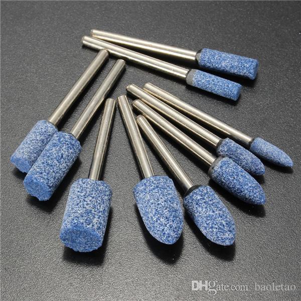 10pcs 1/8 pouce tige bleu AbrasivE-monté Pierre outil de meulage rotatif pour Dremel