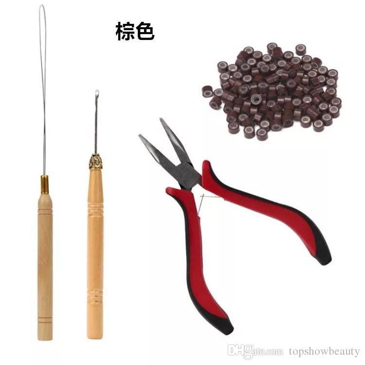 Hot selling needle tools and hook tools for hair extensions with silicone beads and pliers 4pcs/set hair accessaries with free shipping