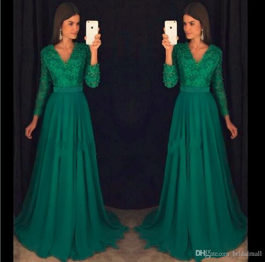 Vintage Emerald Green Chiffon Aftonklänningar med långärmad Sexig V Neck Prom Klänning Beaded Evening Wear Formell Party Gown Vestido de Novia
