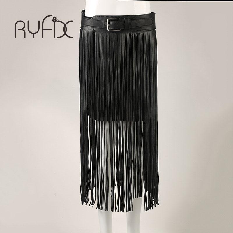 Fringe Tassel Leather Ladies Belt Matching High Waist Fashion Women Long Belts Black