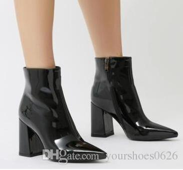 Botines Mujer 2018 Couro Metálico Botas Chunky Espelho de Prata Ouro Rosa Couro Envernizado Ankle Boots de Salto Alto Moda de Rua