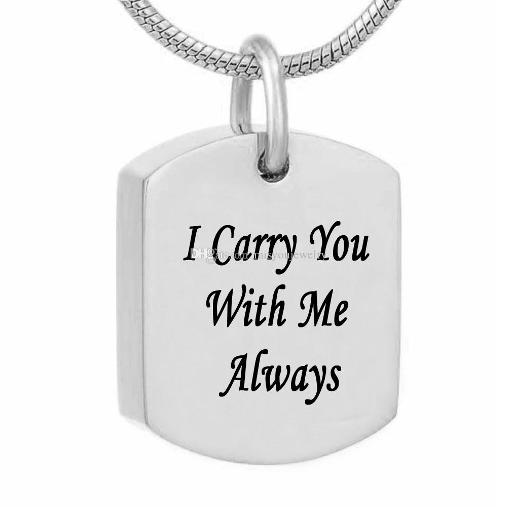 """/""""With Me Always/"""" Urn Cremation Urn Memorial Stainless Steel Pendant Ash Jewelry"""