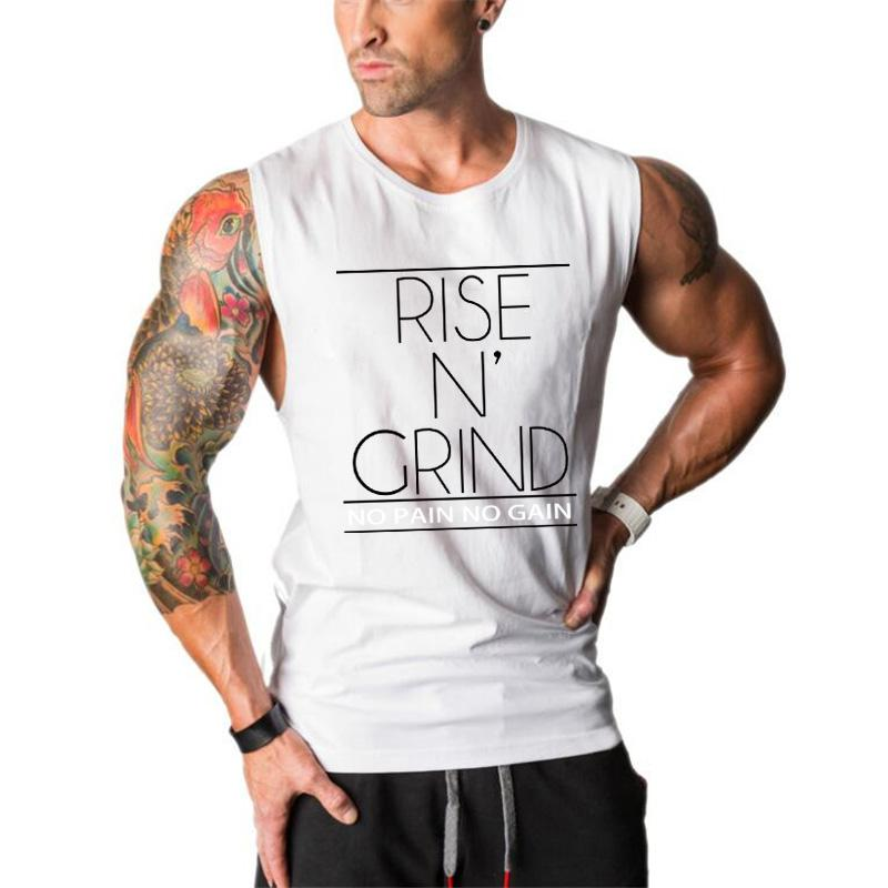 Gyms tank tops Bodybuilding Clothing Fitness Men Cotton golds Vest No Pain No Gain Sleeveless Shirts Muscle tanktop singlets