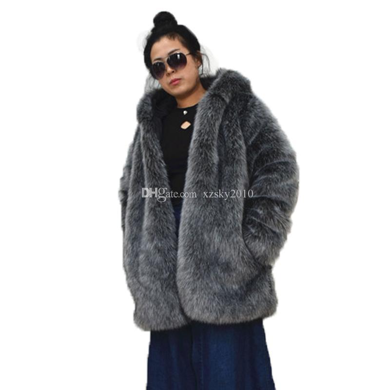 2020 otoño e invierno nueva capa larga de gran tamaño abrigo de piel de imitación de moda la imitación de piel de zorro de las mujeres