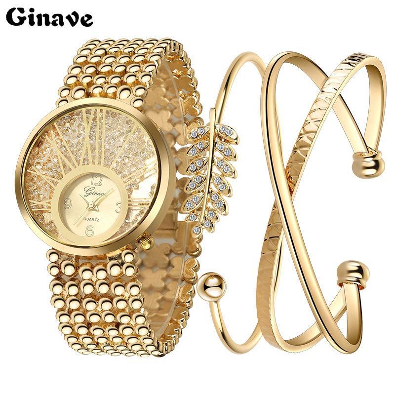 2018 Nueva Moda Relojes mujer Reloj pulsera Set reloj de cuarzo Mujer Señoras Relojes Reloj Mujer Vestido Relogio Feminino Y18102310
