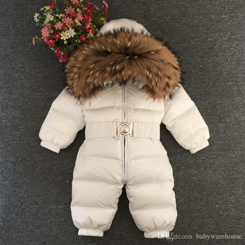 Mode Baby Overalls Jungen Mädchen Winter Overalls Baby Strampler Duck Down Jumpsuit mit Kapuze Real Pelzkragen Kinder Oberbekleidung Kinder Schneeanzug