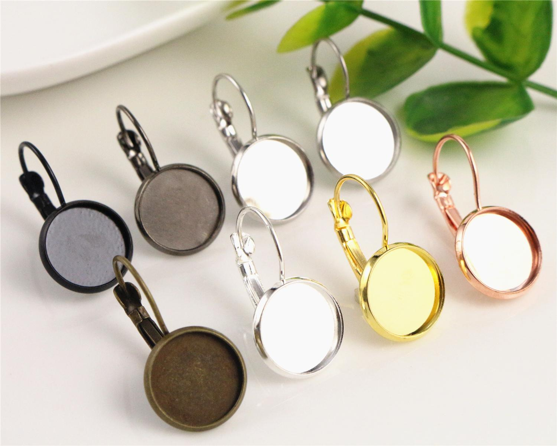 클래식 컬러 시리즈 프렌치 레버 백 귀걸이 블랭크 /베이스, 맞춤형 12MM 유리 카보 숑, 버튼, 귀걸이 베젤 12mm 10 개