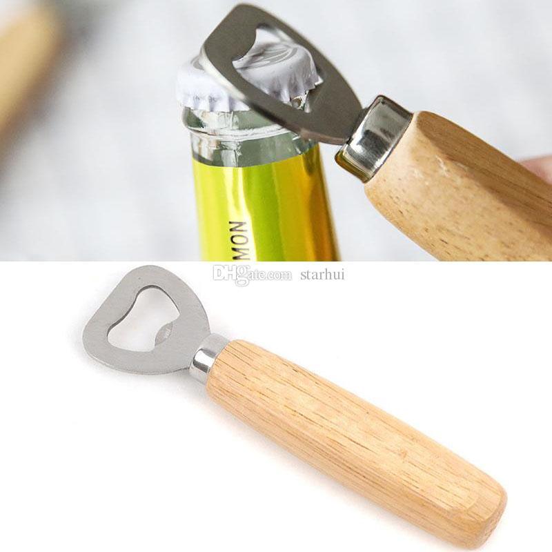 Bottle Opener Kitchen Tools Stainless Steel Wooden Handle Beer Openers Bar Tools Soda Beer Bottle Cap Opener Gifts Free DHL WX-C29