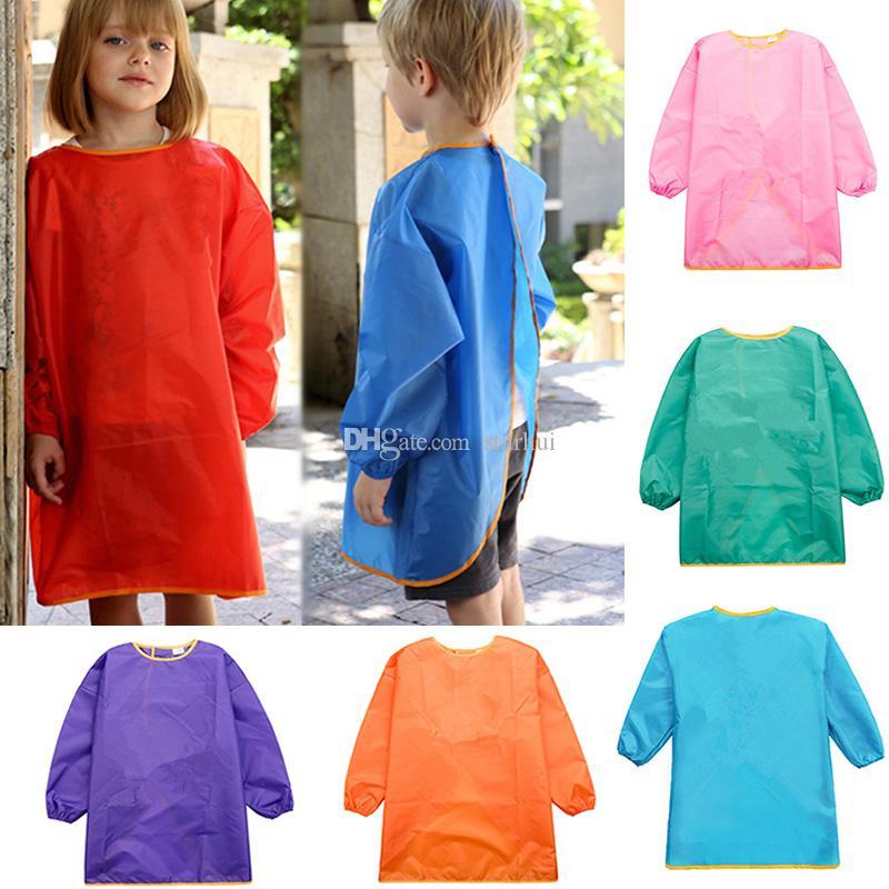 Çocuk Önlükleri Önlük Elbise Elbise Bebek Su Geçirmez Uzun Kollu Smock Çocuklar Yeme Yemek Boyama Burp Bezler 7 renk WX9-773