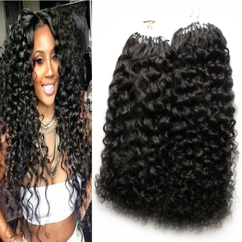 Produtos de salão Virgin Mongolian Afro Kinky Curly Cabelo 200s Aplicar cabelo Natural Micro Link Extensões de Cabelo Humano 200G Micro Bead Extensões
