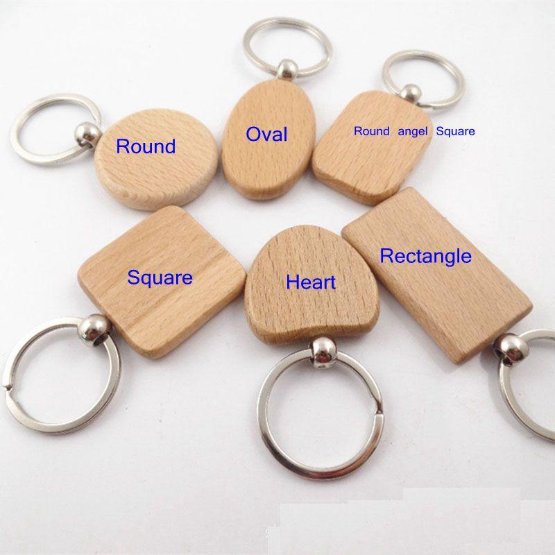 Epackfree 30pcs DIY 공백 나무 열쇠 고리 직사각형 심장 라운드 타원 조각 열쇠 고리 나무 열쇠 고리를 사용자 정의