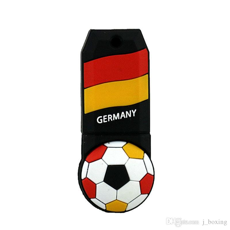 Free Shipping 2018 World Cup Cartoon Football Flag 16G 32G USB 2.0 Flash Drives Soccer Germany Team Fans Gift for PC Laptop USB Memory Stick