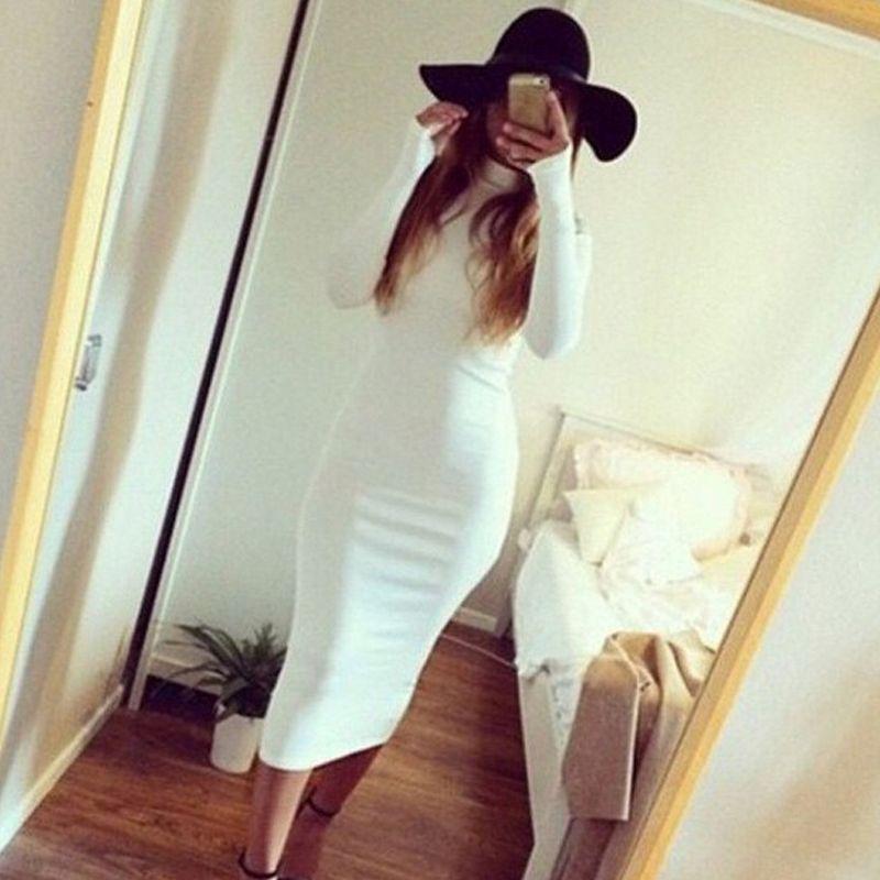 Winter Soft Cotton Stretch White Party Dress Plus Size Skinny Sexy Club Wear Gorgeous Warm Long Sleeve Bandage Bodycon Dress
