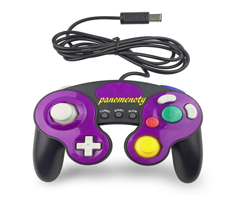 10pcs / lot Controller GC cablato per GameCube Gamepad Controle PC GC Joystick Supporto vibrazione 10 colori