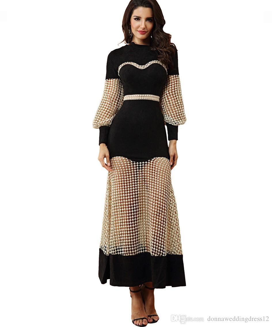 Vestido De Noiva 2018 elegante sirena ahueca hacia fuera el vestido de noche de baile Nueva manga larga musulmán celebridad del vestido de fiesta robe de soriee