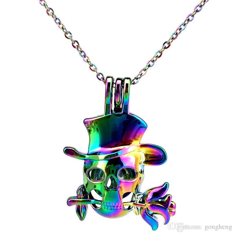 C848 COLORS Rainbow Color Cute Pink Skull Flower Hanging Drop Catena in acciaio inox - Luck Gift Diffusore di oli essenziali