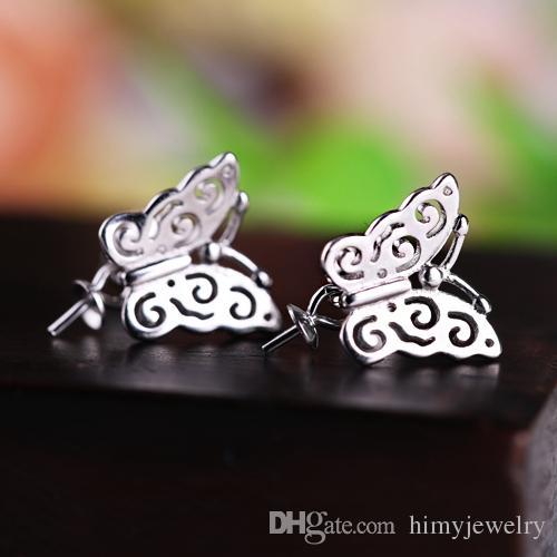 Orecchini a bottone in argento sterling 925 per donna 6mm7mm8mm9mm10mm11mm12mm perla o perlina rotonda orecchini a semicerchio a forma di farfalla