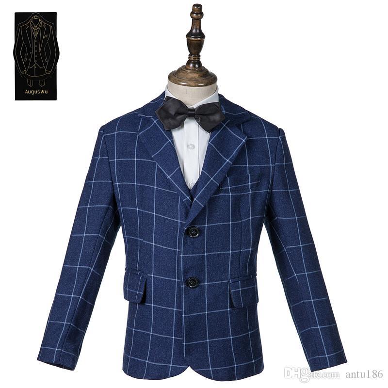 Yüksek kaliteli yüksek kaliteli yün karışımı erkek takım elbise üç parçalı takım elbise (ceket pantolon yelek) erkek moda damalı takım elbise destek özelleştirme