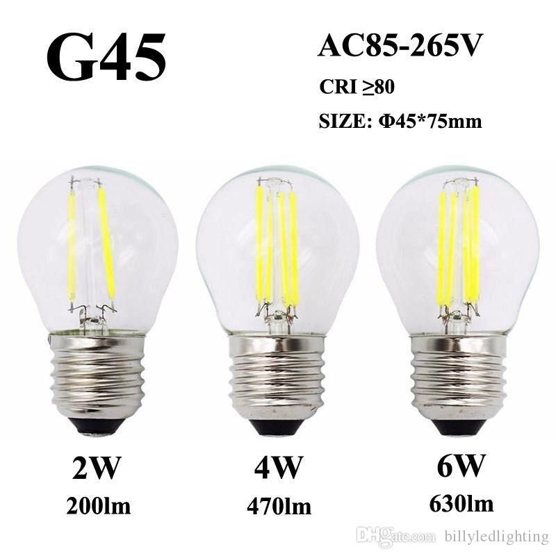 LED Filament Bulb E26 E27 2W 4W 6W G45 360°Clear Glass Lamp 110V/220V/240V Edison Candle Light For Crystal Pendant Chandelier Fixture