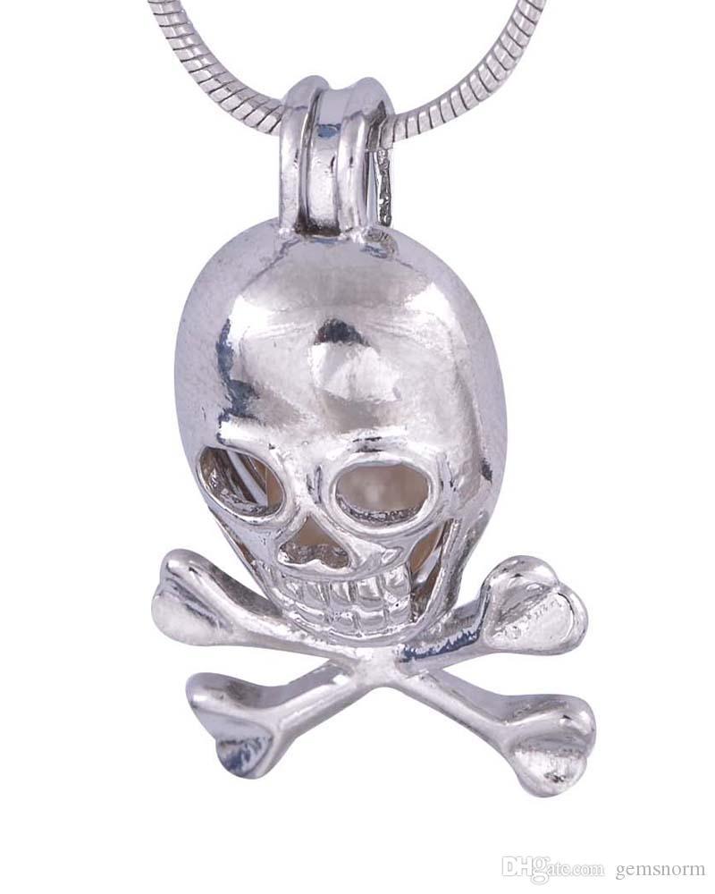 Sıcak satış Gümüş Kafatası Kafes Kolye Avrupa Amerika festivali Hediye Takı Kadınlar için Moda Takı P45