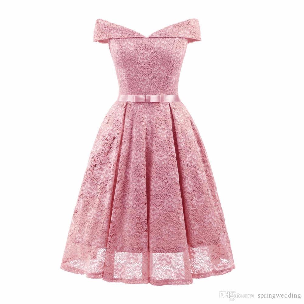S-2XL Couleur unie Voir au travers Robe d'été élégante Jupettes courte robe de bal V Party Neck femmes robe en dentelle Robe Vintage fs4033