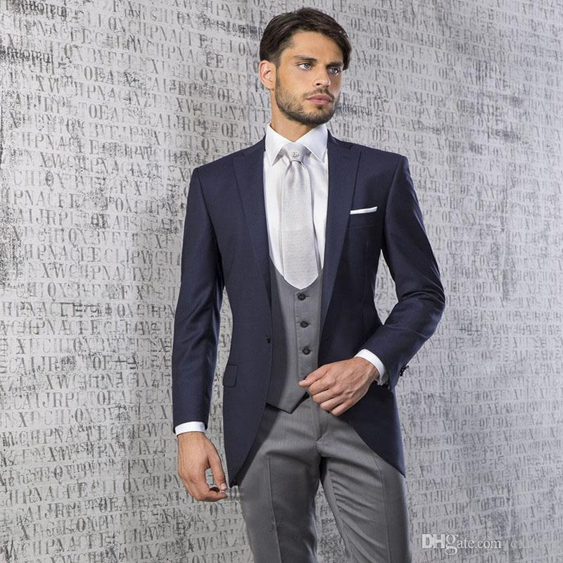 Costom Navy Blue Men Suit Handsome Men's Wedding Suit Gray Vest Groom Tuxedos Slim Fit Male Blazer Jacket Suit with Pants 3 Pieces