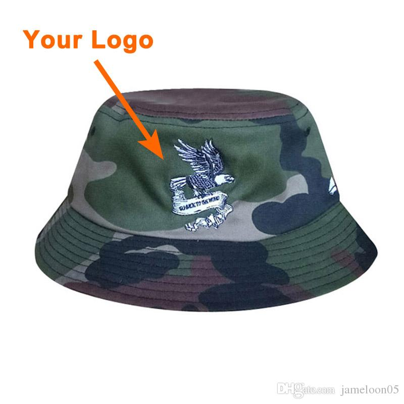 Bucket style cotton fabric unisex camo color printing logo clothes accessories low amount outdoor sport sun cap custom bucket hat