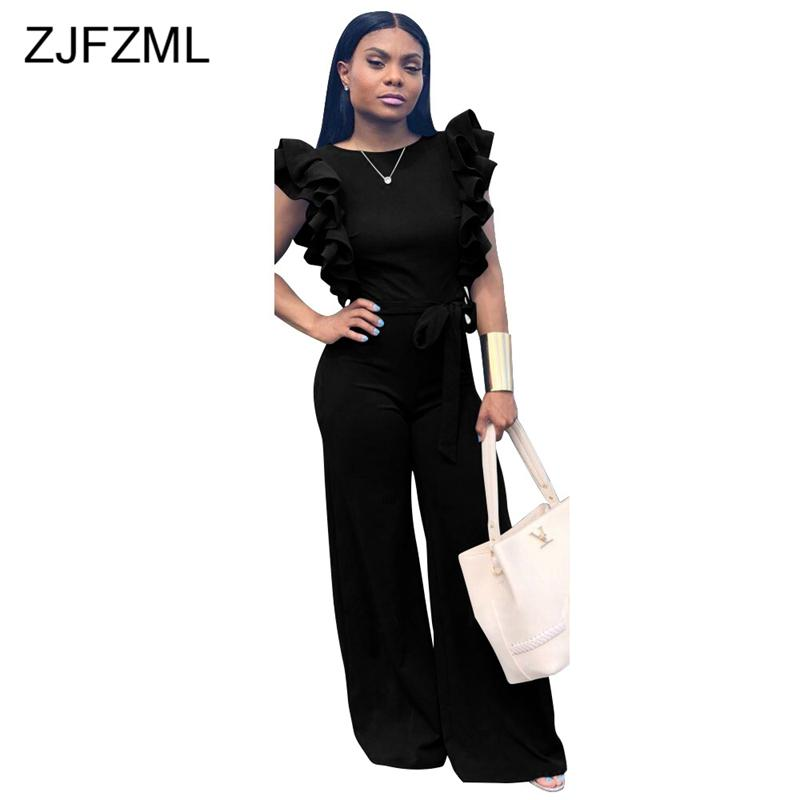 Double Side Ruffles Casual One Piece Overall Women O Neck Sleeveless Wide Leg Pant Jumpsuit Vintage Backless Plus Size Bodysuit