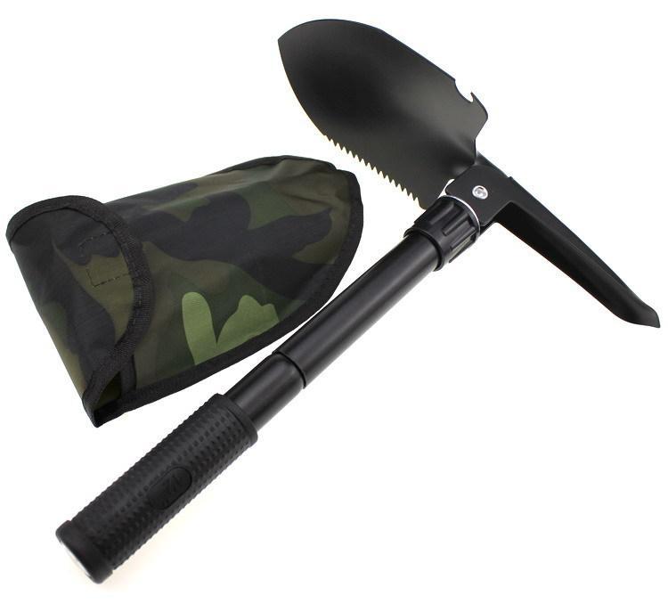 Folding Metal Stainless Steel Shovel Survival Spade Emergency Foldable Mini Shovels Pick Camping Outdoor Tool Black Durable