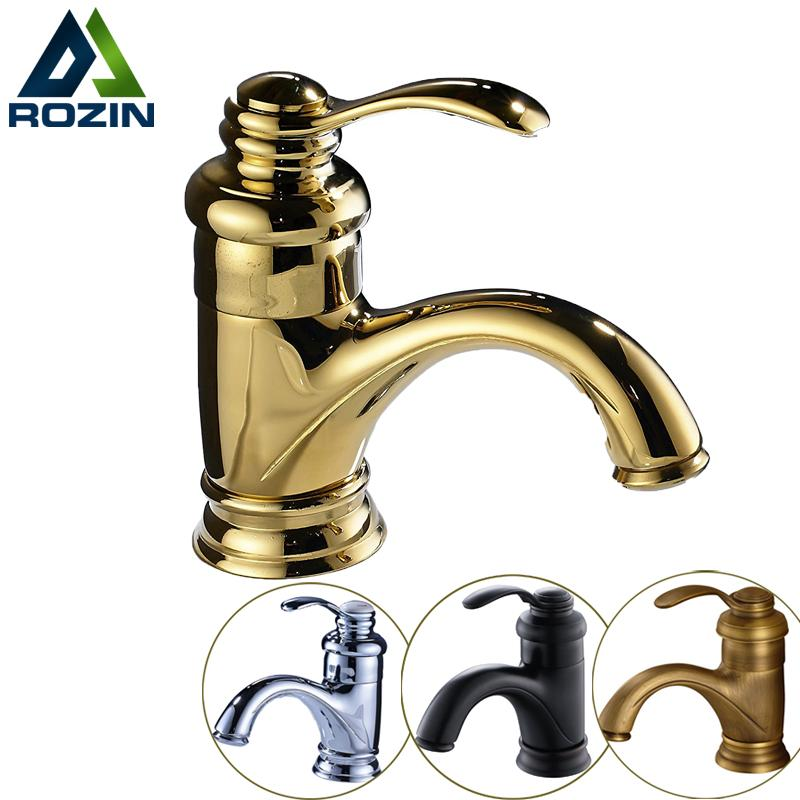 Free Shipping Deck Mount Brass Basin Sink Faucet Short Bathroom Vanity Sink Mixer Taps Hot and Cold Water Single Handle