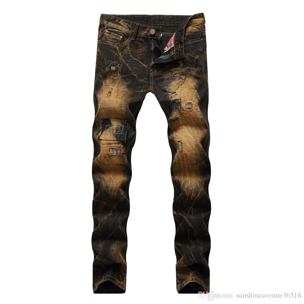 Nuevos pantalones vaqueros de los hombres pantalones rasgados Retro pantalones rectos masculinos remiendo de la vendimia de mezclilla oro slim fit punk pants Dropshipping