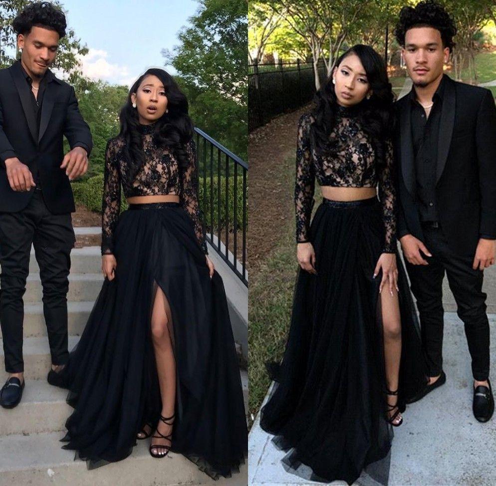 Deux pièces noir fille robes de soirée de bal 2019 dentelle manches longues paillettes une ligne-tulle côté split robes de soirée à bas prix robe sexy occasion