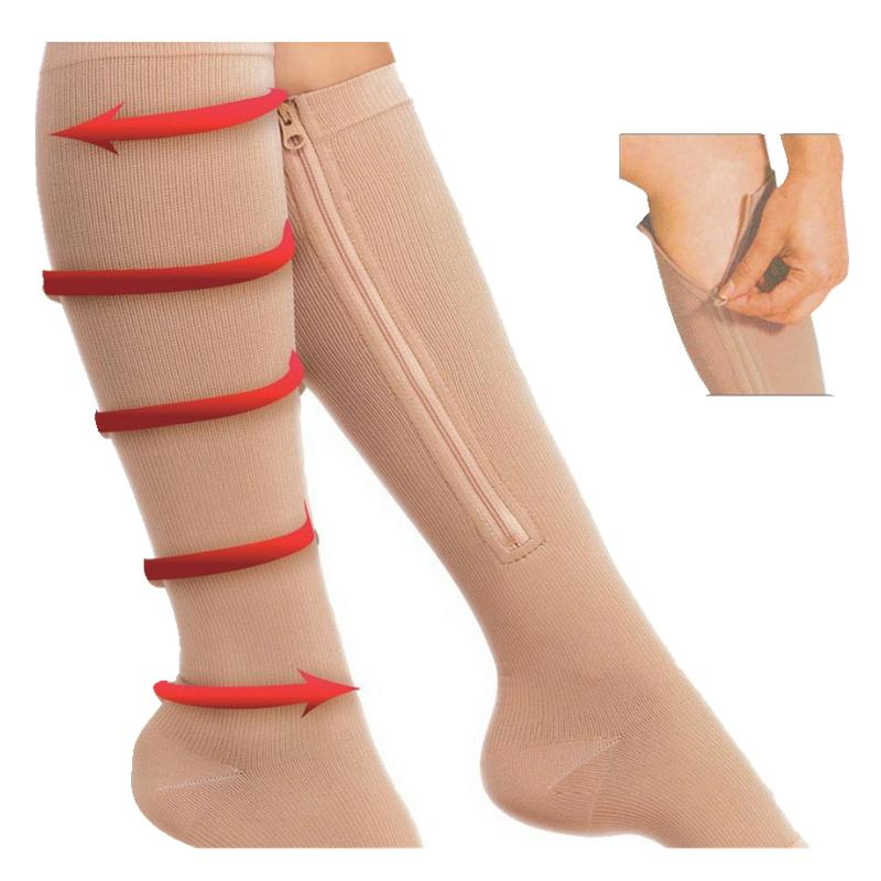 1Pair Unisex Women Compression Stockings Knee High Soothe Achy Stovepipe Stockings Slim Leg Shaper Zipper Leg Support