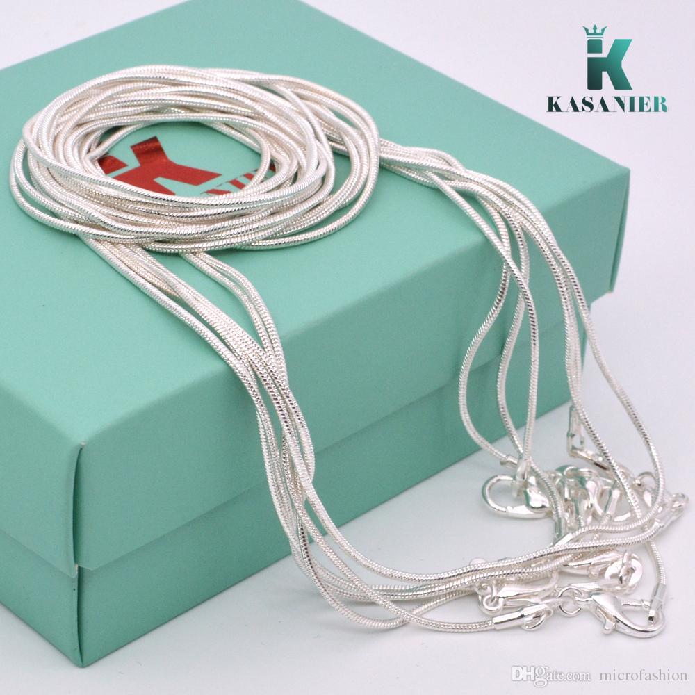 KASANIER Großhandel! 925 Silber Schmuck Halskette 1,2 mm Schlangenkettenlänge von 16 bis 24 Zoll von Frauen Schmuck + 925 Karabiner Tag