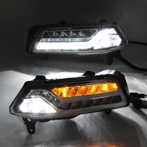 2PCS DRL لفولكس واجن فولكس فاجن بولو 2014 2015 2016 باسات B7 النهار تشغيل أضواء الضباب غطاء الرأس مصباح ضوء النهار
