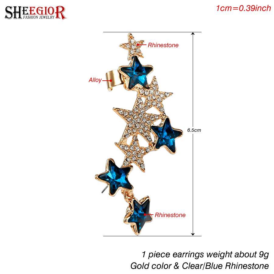 SHEEGIOR Strass Stella Ear Cuff orecchini per le donne clip color oro orecchini gioielli moda bijoux femme regali 1 pezzo orecchini
