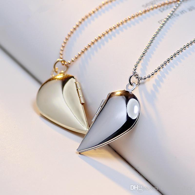 2 Pçs / lote Presente Do Amante Dos Namorados DIY Flutuantes Medalhões Colar Metade Coração Pingente Encantos Colares Para Casais Jóias