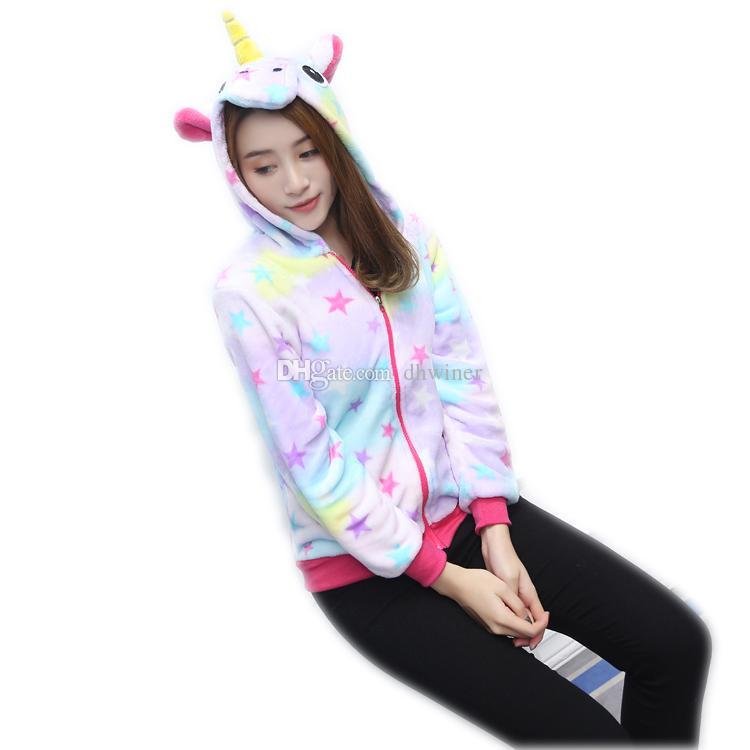 Unicorn Hooded Sweatshirt Fancy Dress Anime Zipper Hoodies Jacket Sweatshirt Coat
