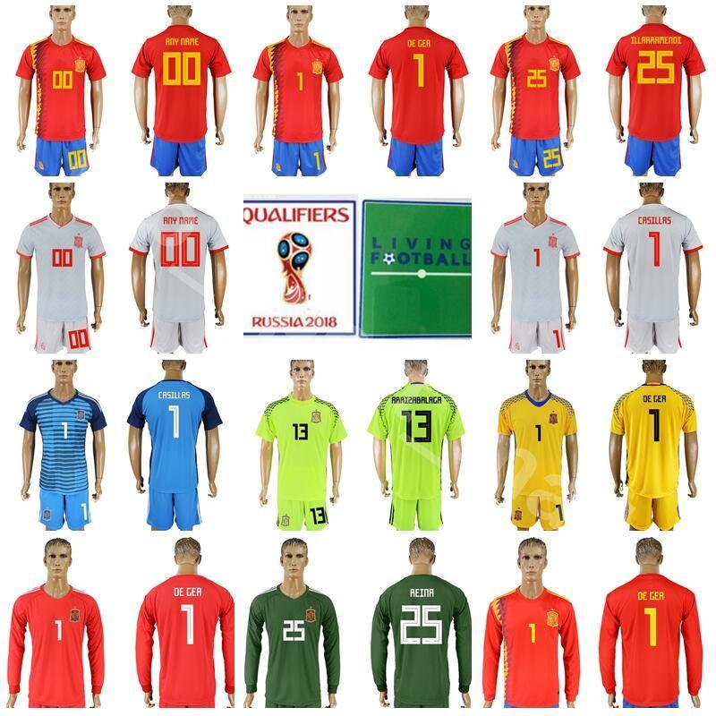 new arrivals bc61d 26c7e 2018 Men Goalkeeper Spain 1 David De Gea Jersey 2018 World Cup 1 Iker  Casillas 13 Pepe Reina Football Shirt Kits 13 ARRIZABALAGA With Short Pant  From ...
