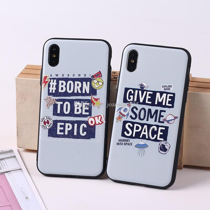 Creative English Words TPU PC Painted Phone Case Shell Relief Skin For iPhone X 8 7 6 6S Plus Cellphone Cases Back Protective iphone Cover