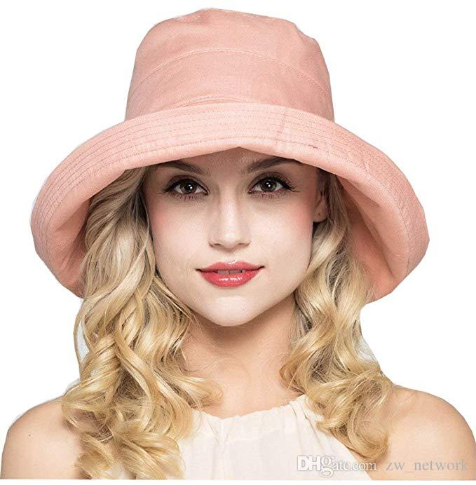 DHL طوي الصلبة قبعة الشمس النساء شقة دلو قبعة الواسعة الحافة قبعة الصياد مع العنق رفرف في الهواء الطلق السفر شاطئ كاب حزام قابل للتعديل