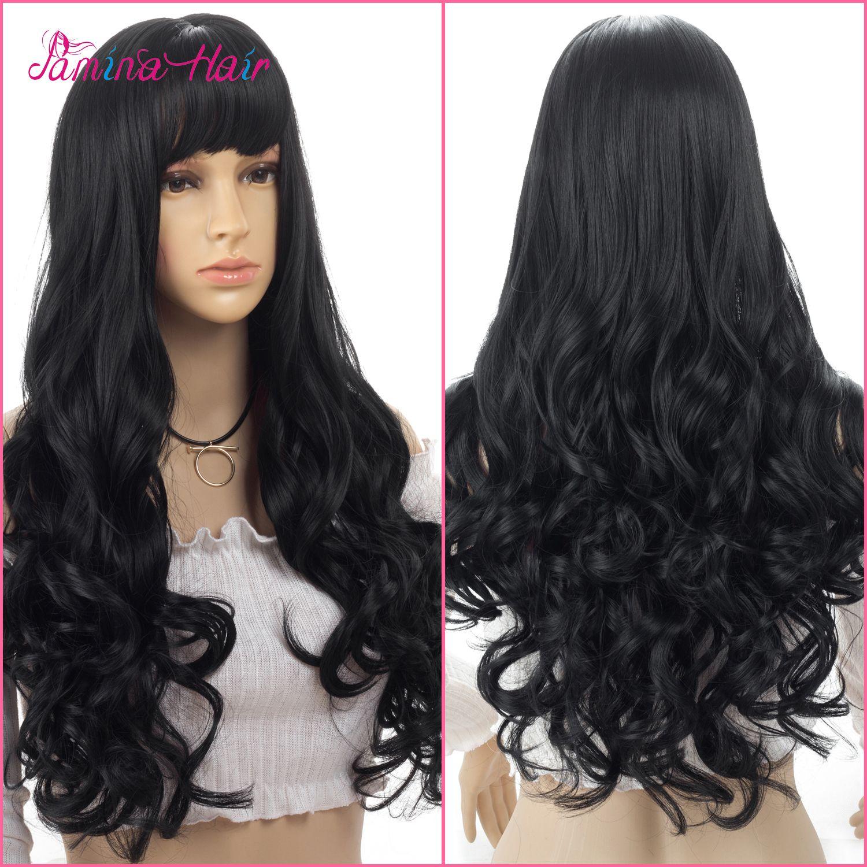 PMINA HAIR Cosplay Perruques Frisées Ondulées Chaleur Resistat Naturel Noir Avec Bangs Perruques Tête Complète (noir naturel)