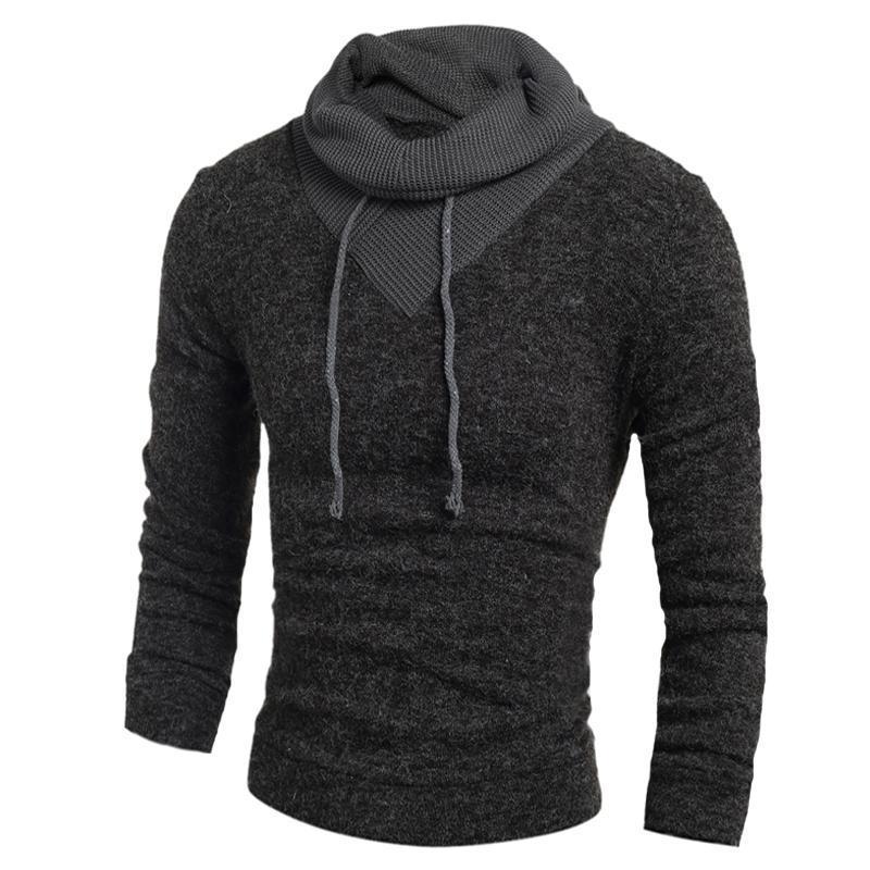 Maglione da uomo 2018 moda new casual slim maglione uomo pullover collo alto di colore solido XXL