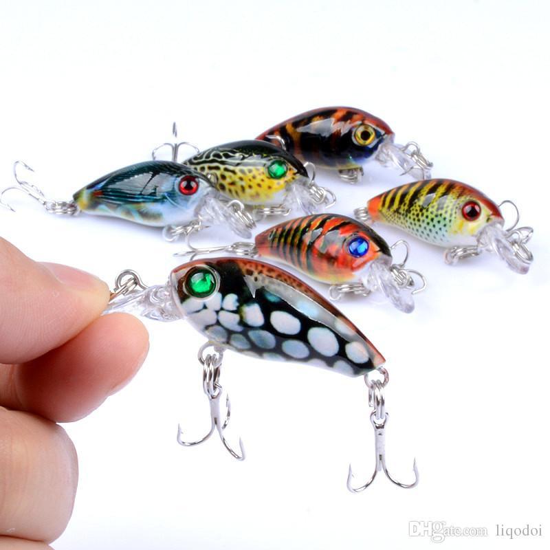 Manivela señuelo de la pesca duro bajo cebo Swimbait 4.5cm-4g Pesca Wobbler Artificial Crankbaits 6 colores aparejos de pesca