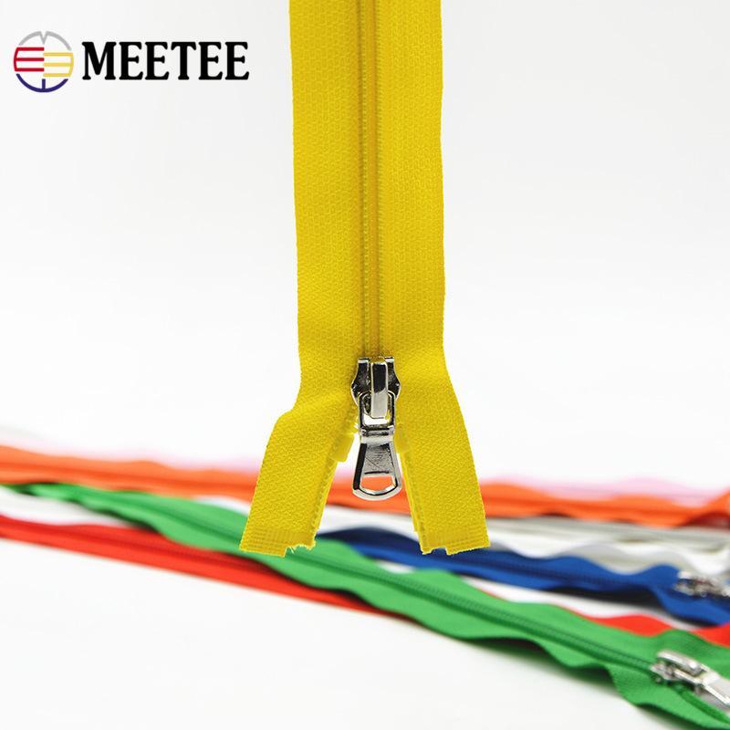 Meetee 5 # Multicolor para o saco 40 cm Open-end Zíperes de Nylon De Metal Zíper Puxar Para O Vestuário DIY Costura Craft acessório